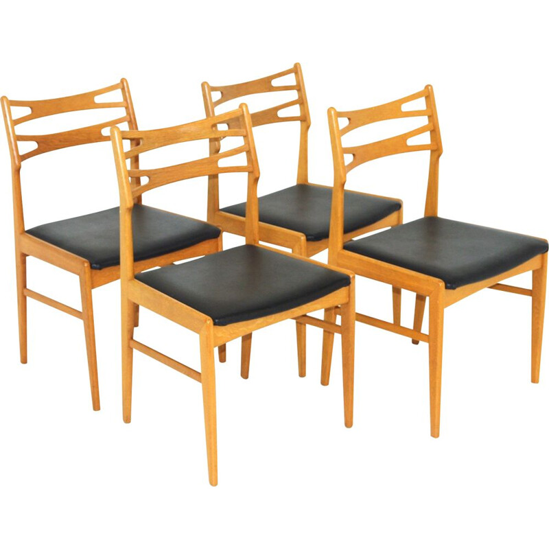 Set of 4 vintage oakwood and leatherette chairs, Sweden 1960