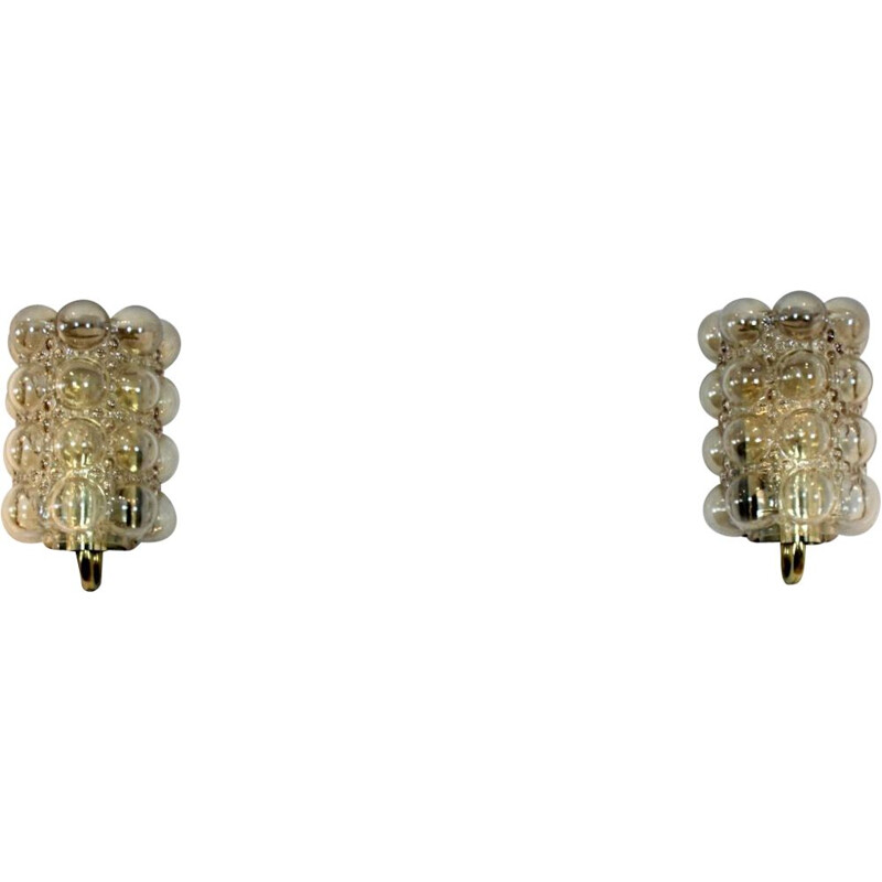 Sophisticated pair of vintage bubble glass & brass wall lamps by Helena Tynell for Glashütte Limburg