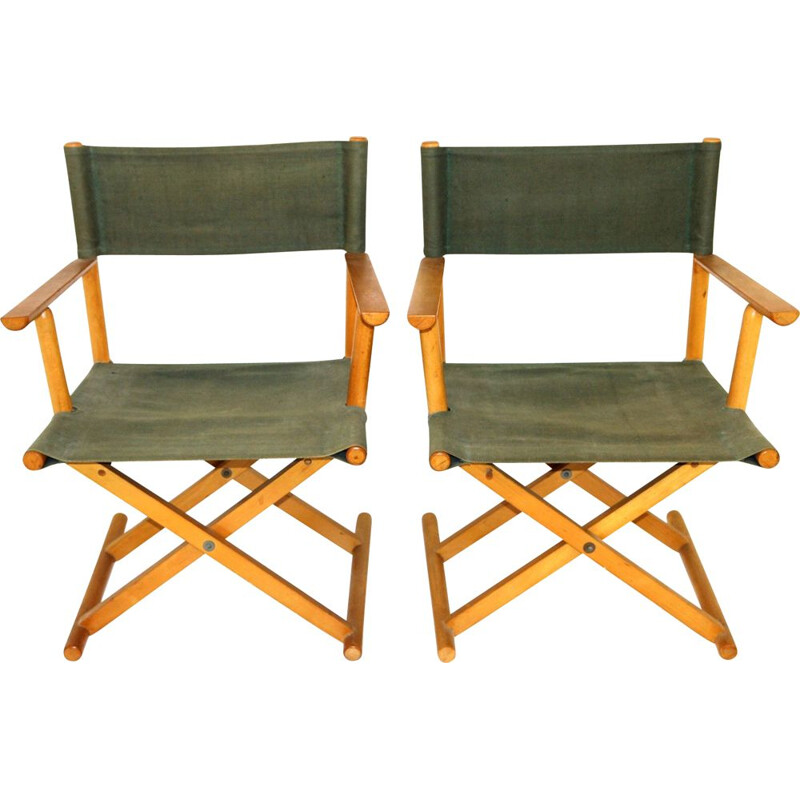 Pair of vintage folding armchairs in beechwood and fabric, 1960