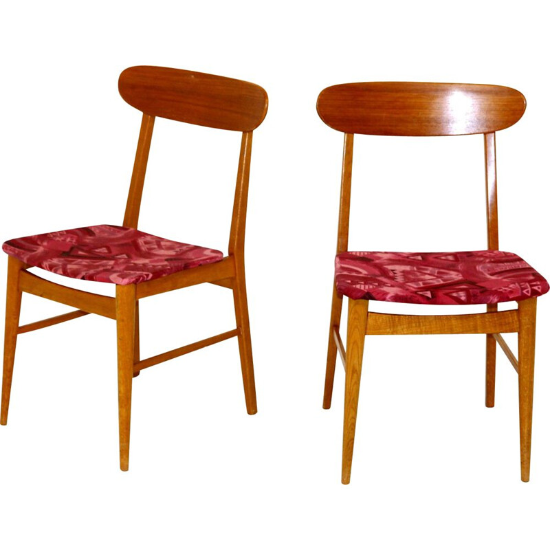 Pair of Scandinavian vintage chairs in oakwood and fabric, Sweden 1960