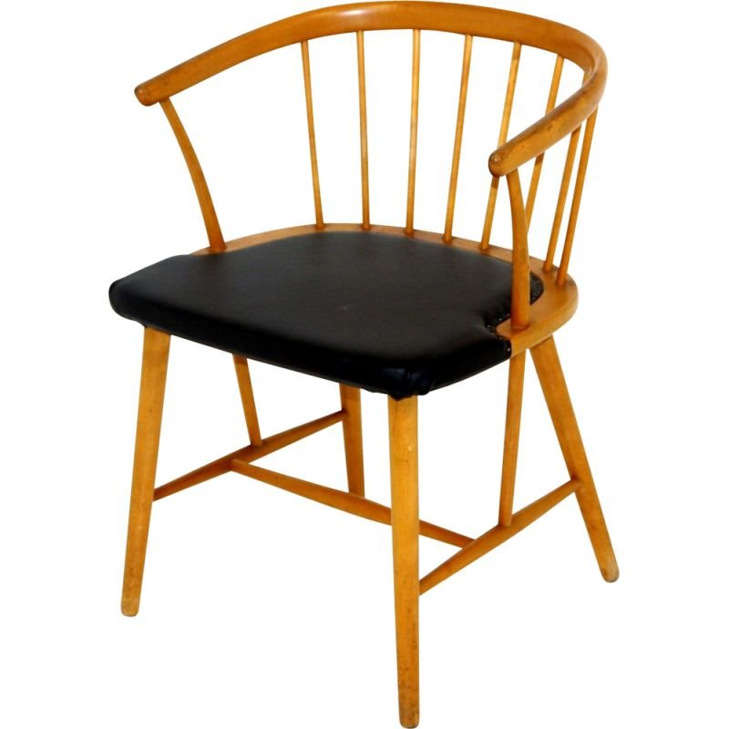 Vintage beechwood and black leatherette armchair by Hagafors, Sweden 1950