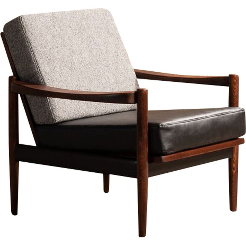 Vintage solid beechwood armchair with grey mottled fabric and black leatherette, 1960