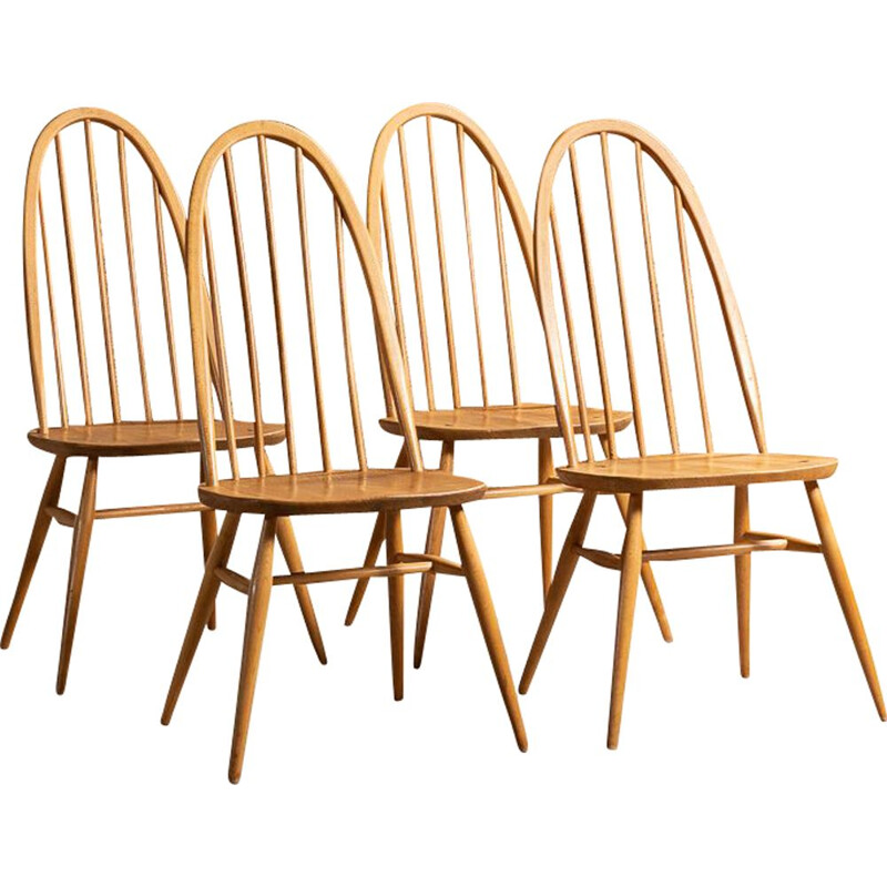 Set of 4 vintage Windsor Quaker chairs by Lucian Ercolani for Ercol, UK 1960