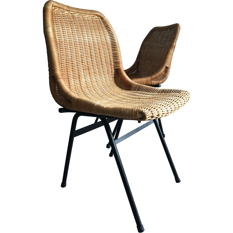 Pair of vintage rattan dining chairs by Rohé Noordwolde, 1960s