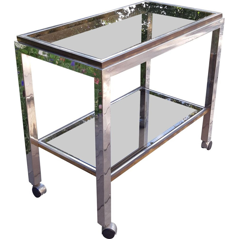 Vintage smoked glass console