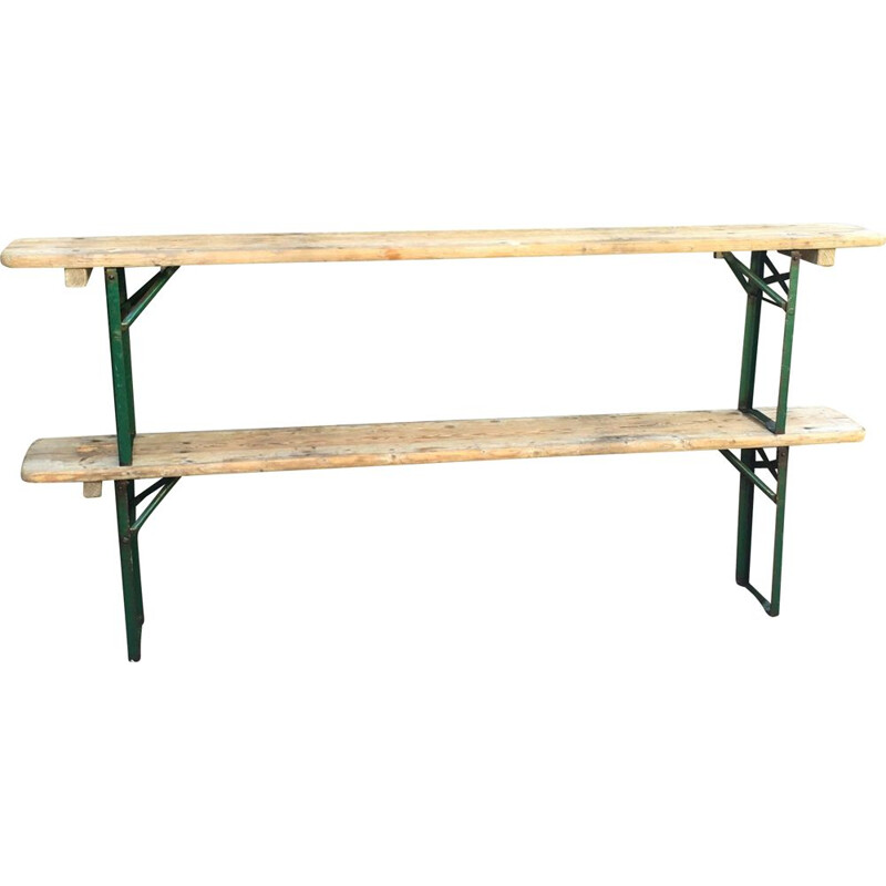 Pair of vintage solid wood benches, 1960