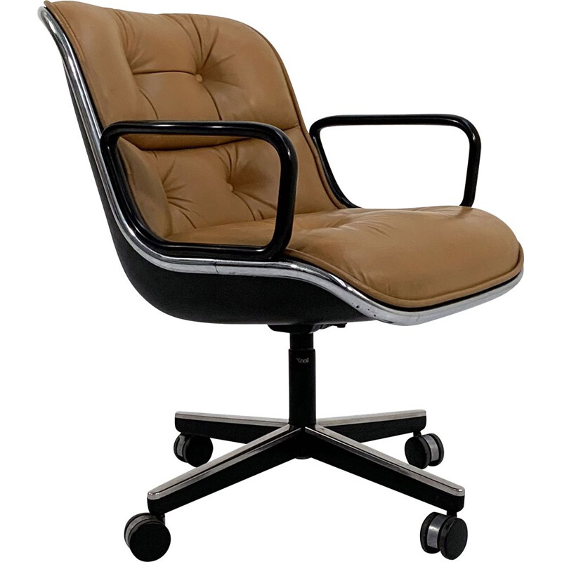 Vintage camel leather ofice chair on wheels by Charles Pollock for Knoll, 1970s