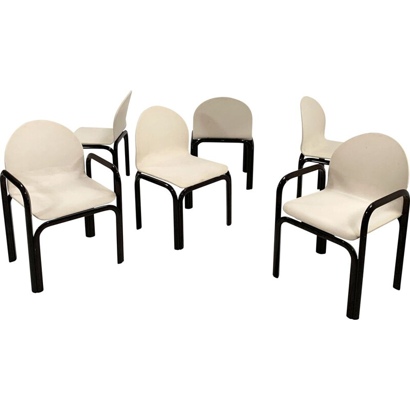 Set of 6 vintage Orsay armchairs by Gae Aulenti for Knoll, 1970s