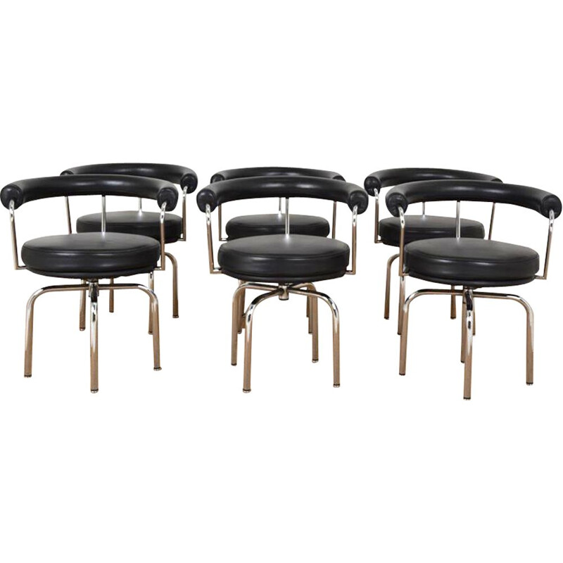 """Set of 6 vintage swivel armchairs """"LC 7"""" by Le Corbusier, Perriand and Jeanneret for Cassina, 1980"""