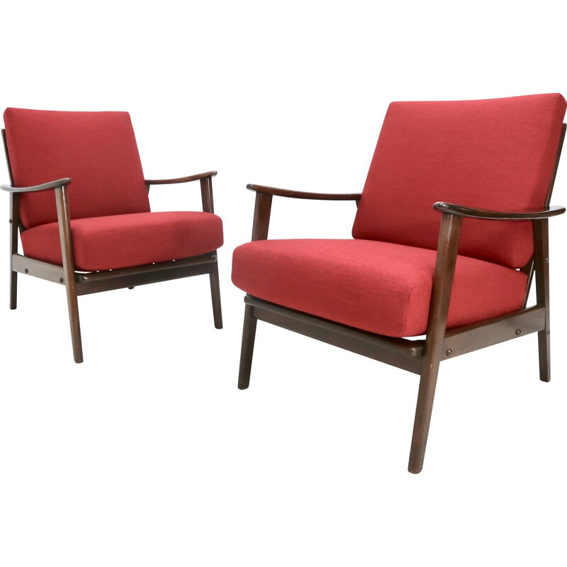 Pair of mid-century red armchairs, 1950s
