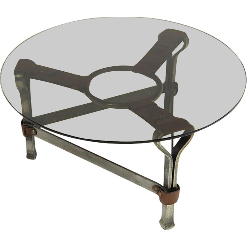 Vintage brutalist coffee table by Jacques Adnet, 1960s