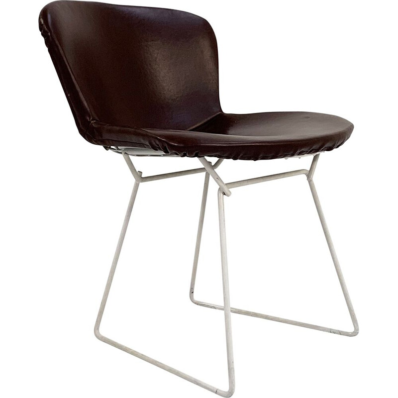 Mid century wire dining chair with leather cover by Harry Bertoia for Knoll, 1970s