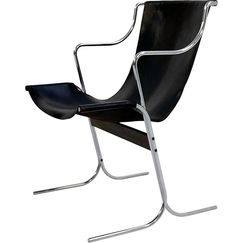 Mid century leather Cigno armchair by Ross Littell & Douglas Kelly for ICF De Padova, 1960s