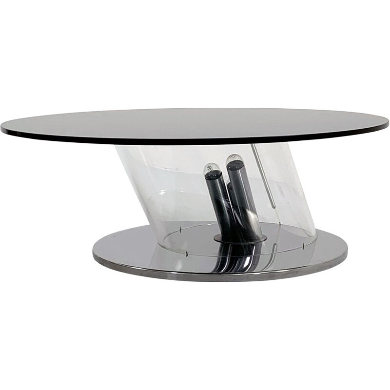 Mid cenyury coffee table with lights in plexiglass and steel, 1970s