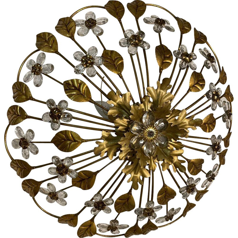 Vintage Italian gold gilded tole crystal flower ceiling lamp, 1960s