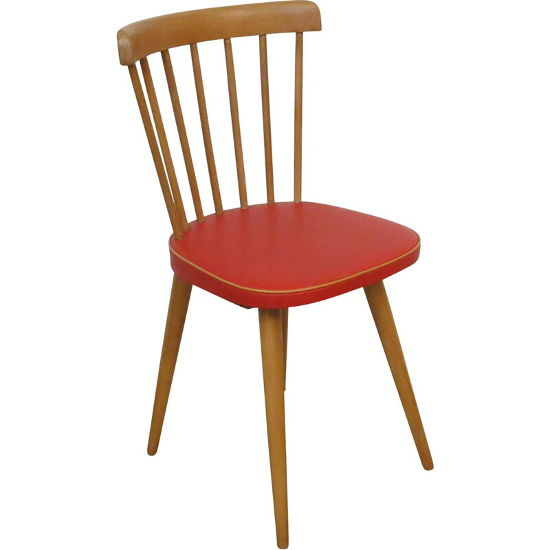 Vintage beechwood and red skai bistro chair, 1960