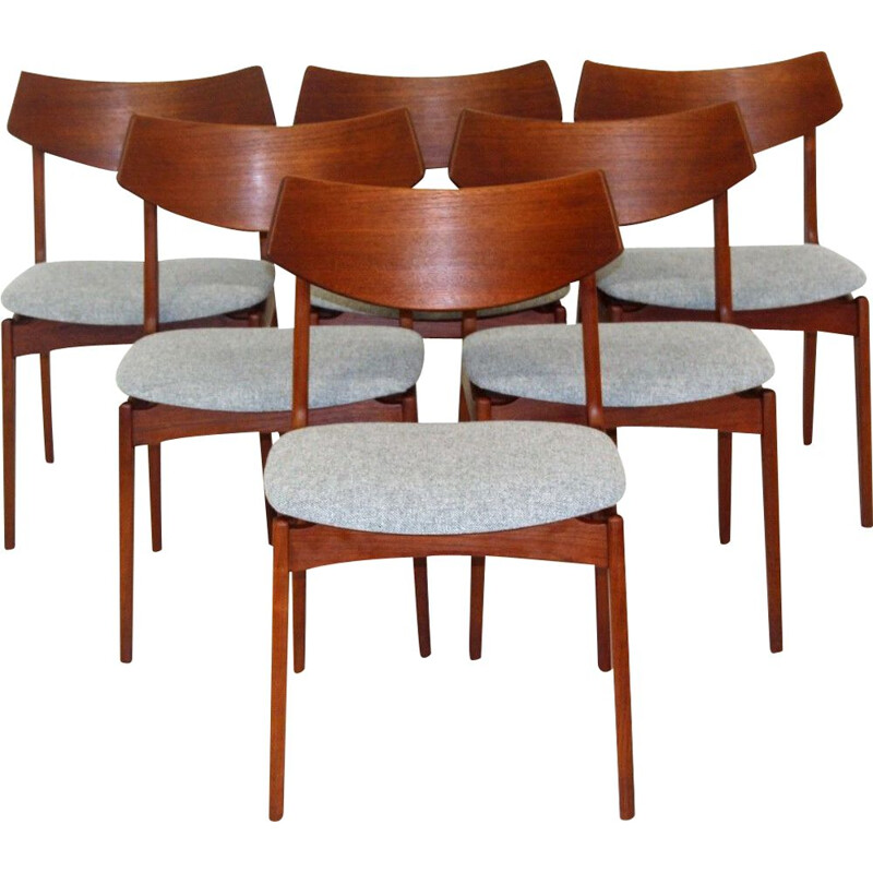 Set of 6 vintage teak and cotton chairs, Sweden 1960