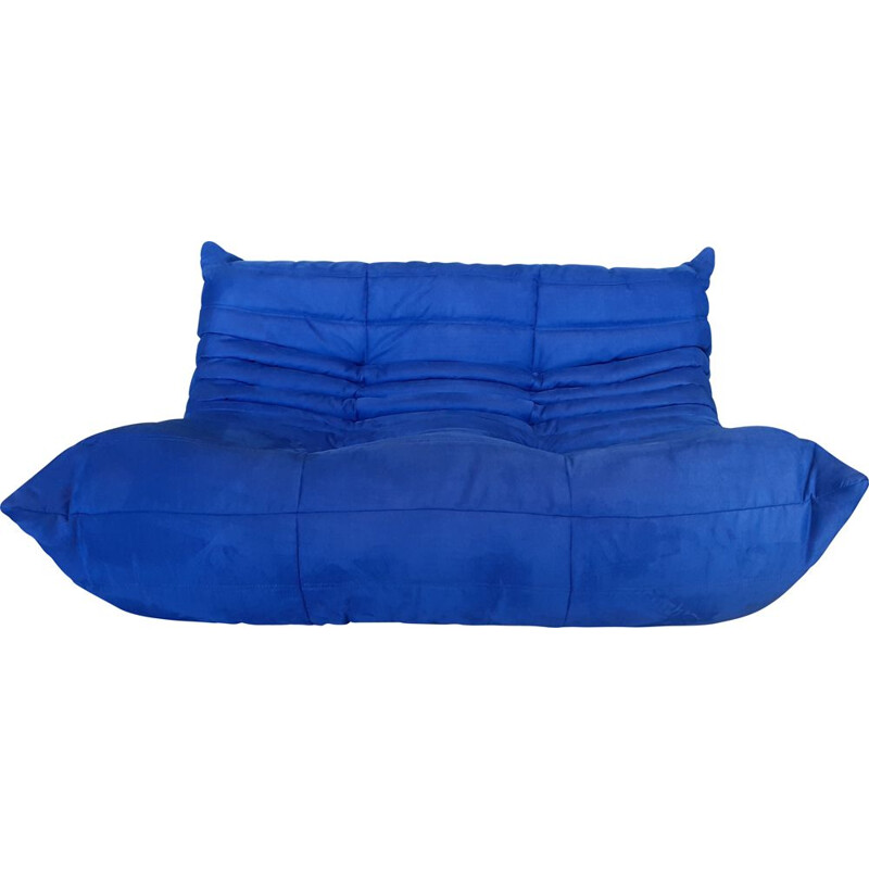 Vintage two-seater sofa in royal blue for TOGO LINE ROSET