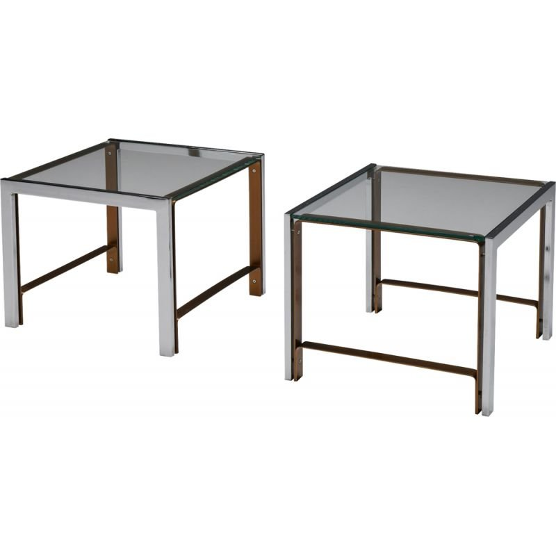 Pair of vintage glass side tables, 1950s