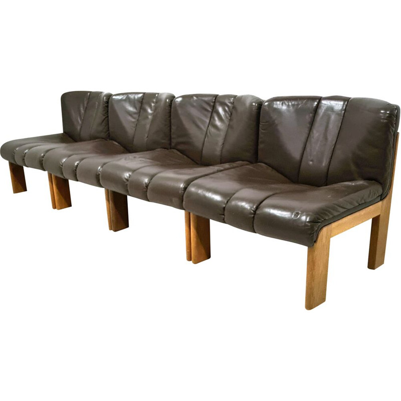 Set of 4 vintage leather armchairs by Girsberger, Germany 1970s