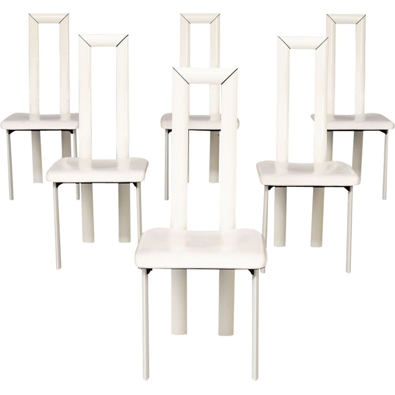Set of 6 vintage white leather high back chairs by Antonello Mosca for Ycami, 1980s