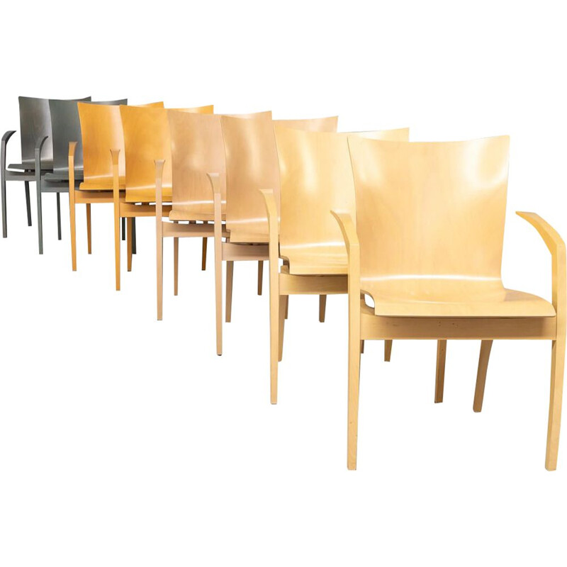 """Set of 8 vintage """"camarilla"""" plywood dining chairs by Hugo de Ruiter for Leolux, 1990s"""