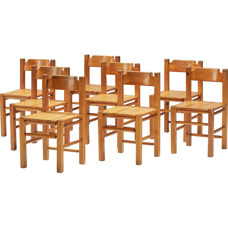 Set of 8 vintage pine dining chairs, 1960s