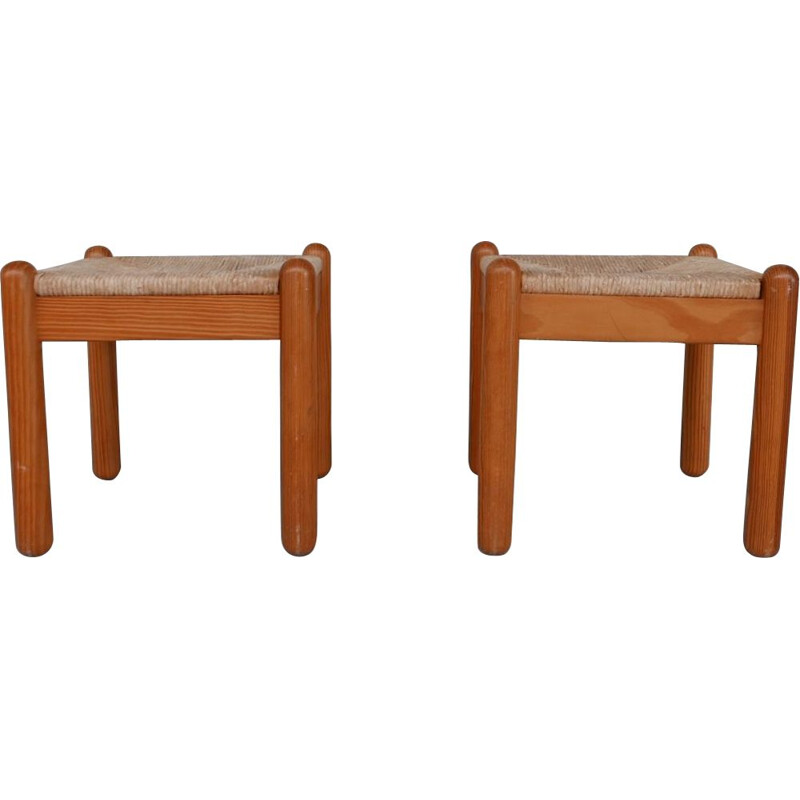 Pair of mid-century pine and rush stools, France 1960s