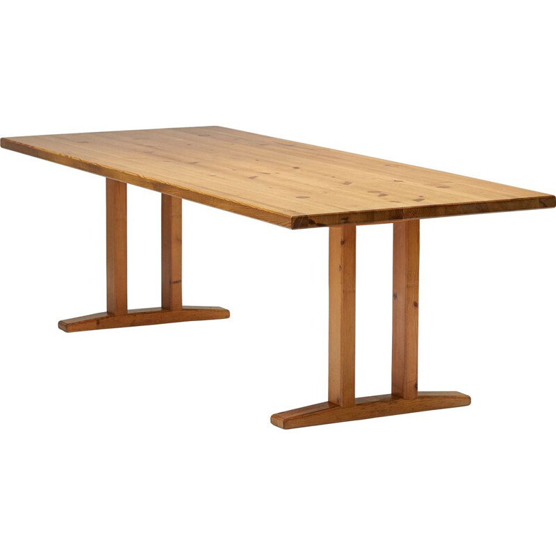 Mid century pinewood dining table, France 1960s