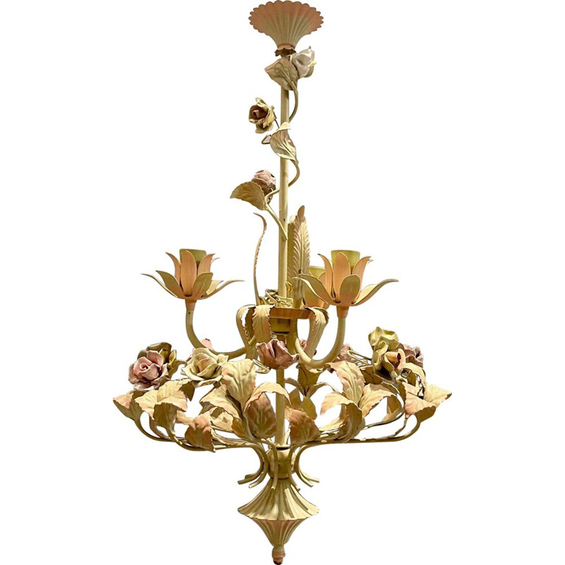 Italian vintage tole and ceramic rose chandelier