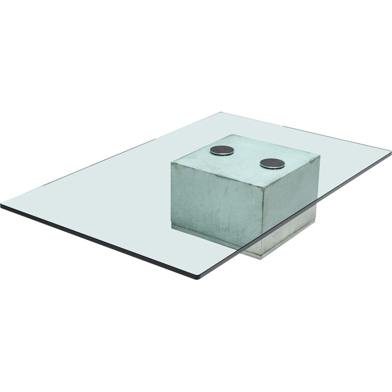 Vintage concrete and glass SAPO coffee table by Saporiti, 1970s