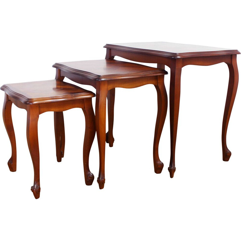 Vintage Louis XV style nesting tables in cherry wood