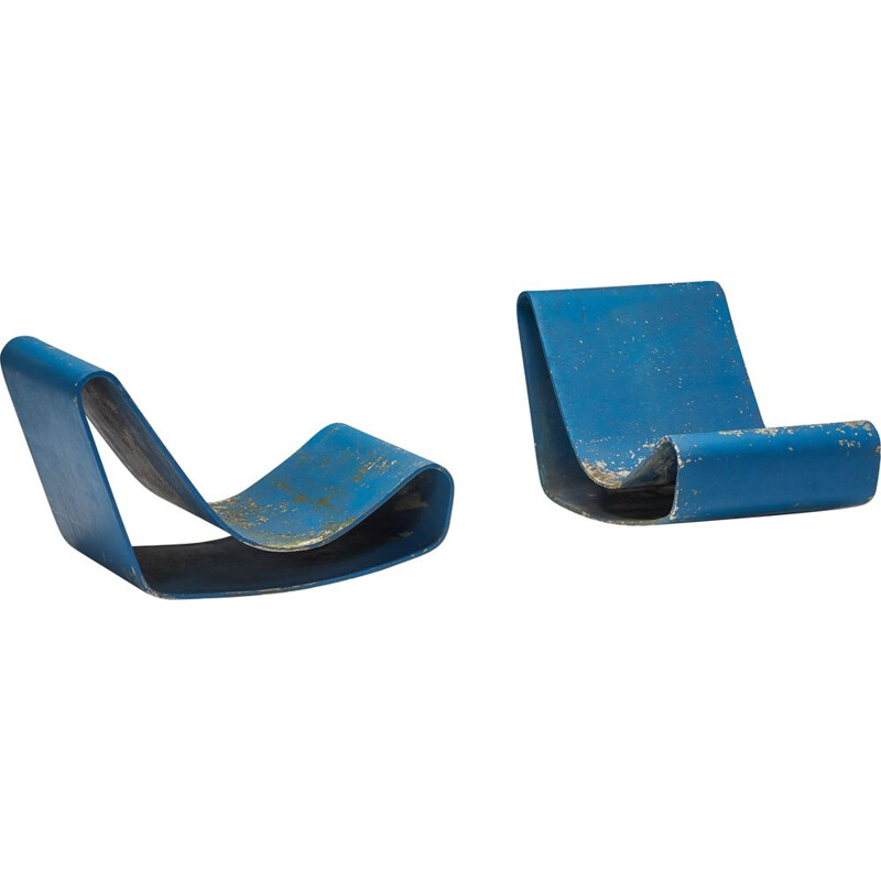 Pair of vintage Loop lounge chairs by Willy Guhl for Eternit SA, Switzerland 1950s
