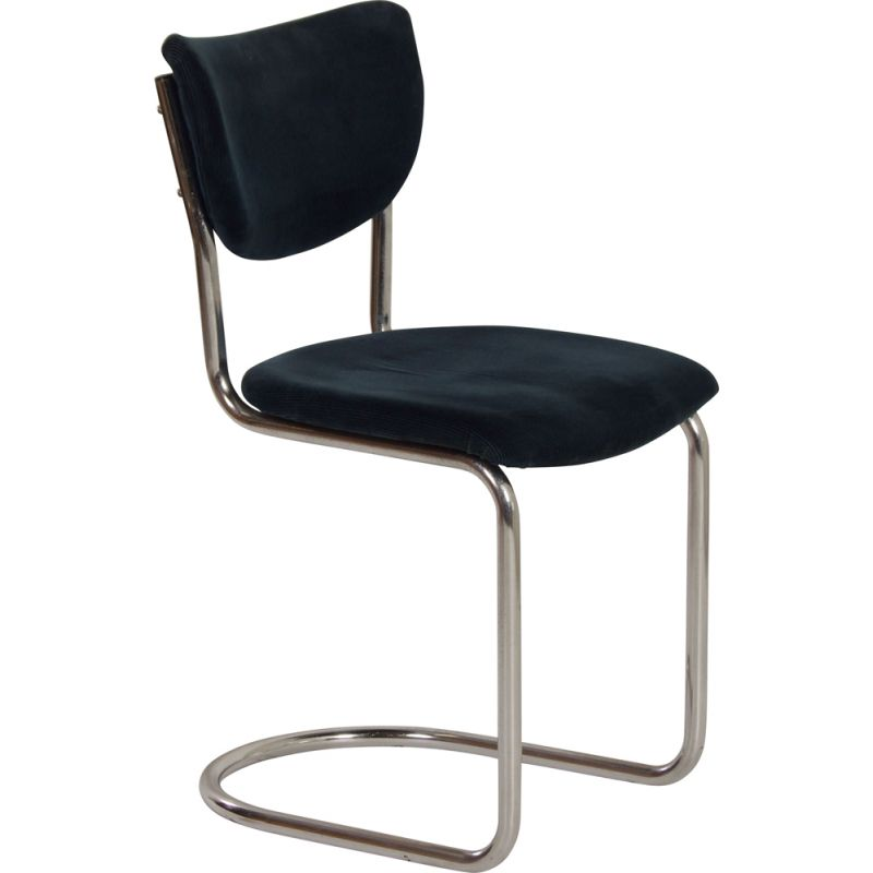 Vintage 2011 cantilever chair in blue manchester corduroy by Toon de Wit for Gebr. De Wit, 1950s