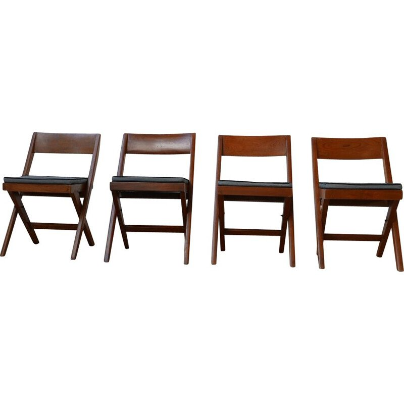 Set of 4 mid-century Library dining chairs by Pierre Jeanneret, India 1960s