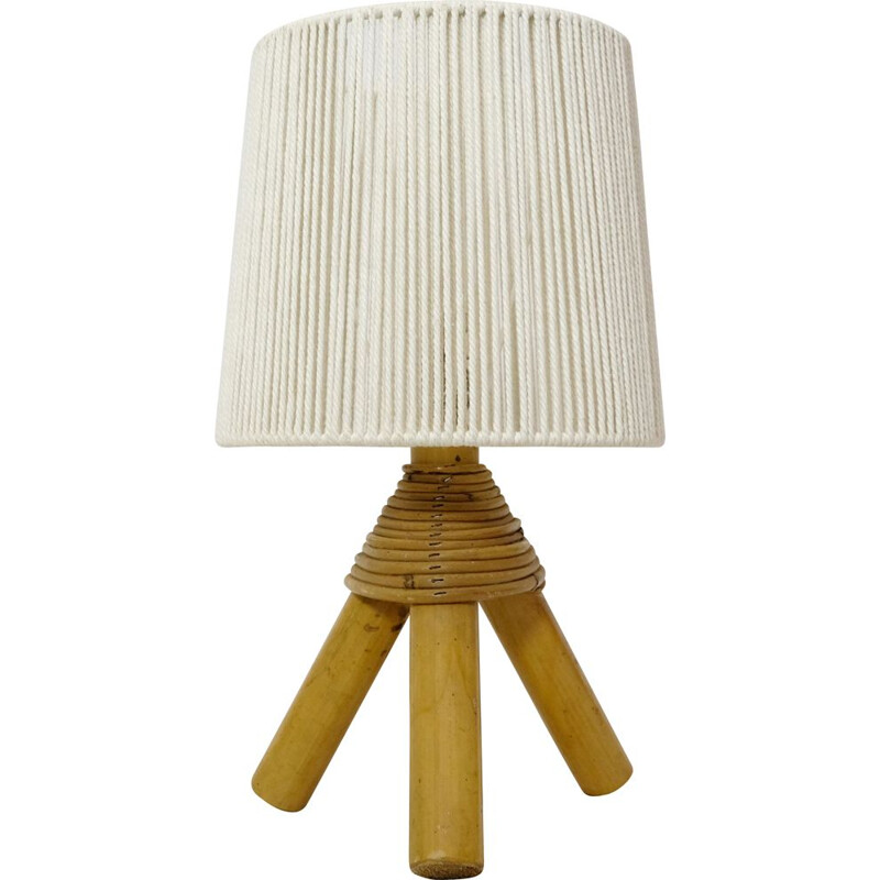 Vintage bamboo table lamp with rope shade