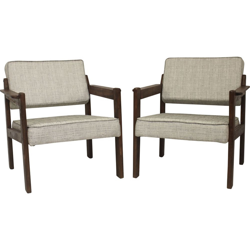 Pair of vintage wooden armchairs, 1970