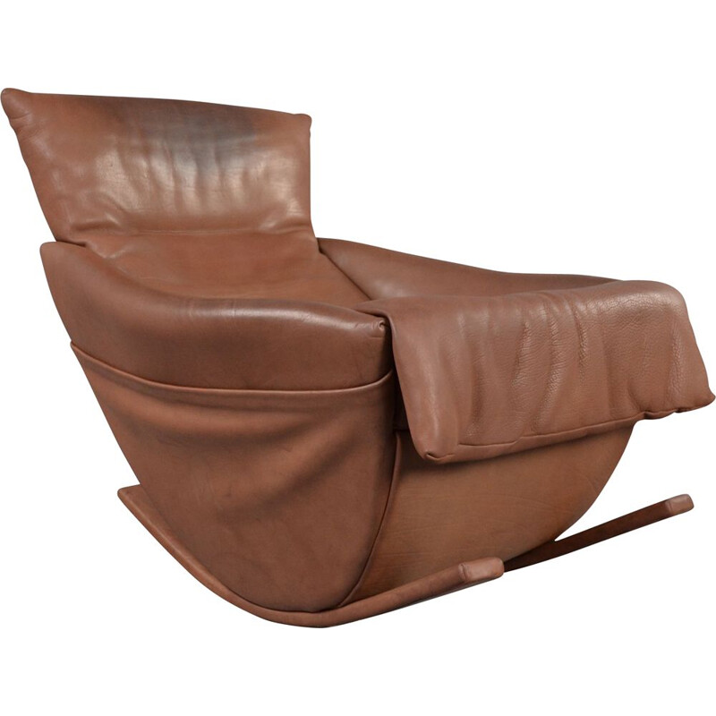 Mid century rocking chair in bull leather by De Sede, 1970s