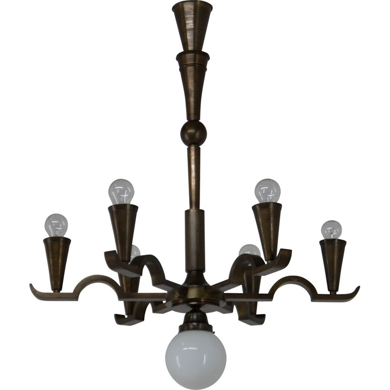 Vintage cubistic chandelier by Franta Anyz, 1920s