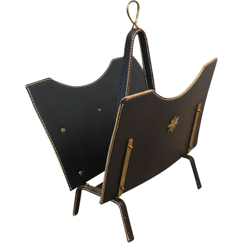 Vintage metal magazine rack covered in black leather by Jacques Adnet, 1950