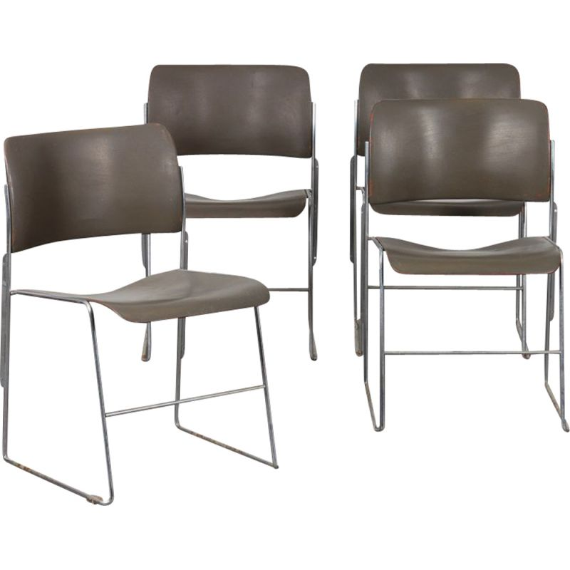 Set of 4 vintage chairs by David Rowland