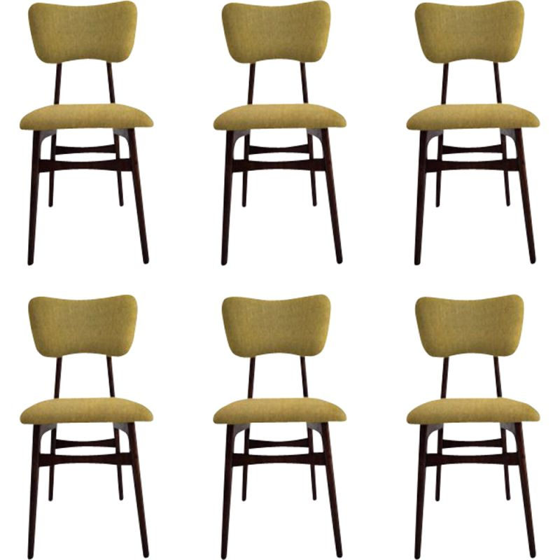 Set of 6 vintage chairs in mustard wool and wood, Poland 1960s
