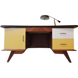 Large office desk in wood with compass legs - 1950s