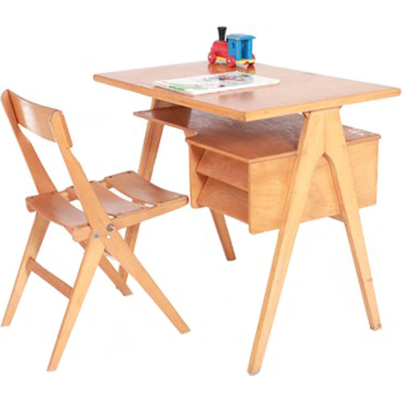 kid desk and chair in wood 1950s