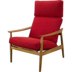 FD-164 Cado armchair in teak and red fabric, Arne VODDER - 1960s