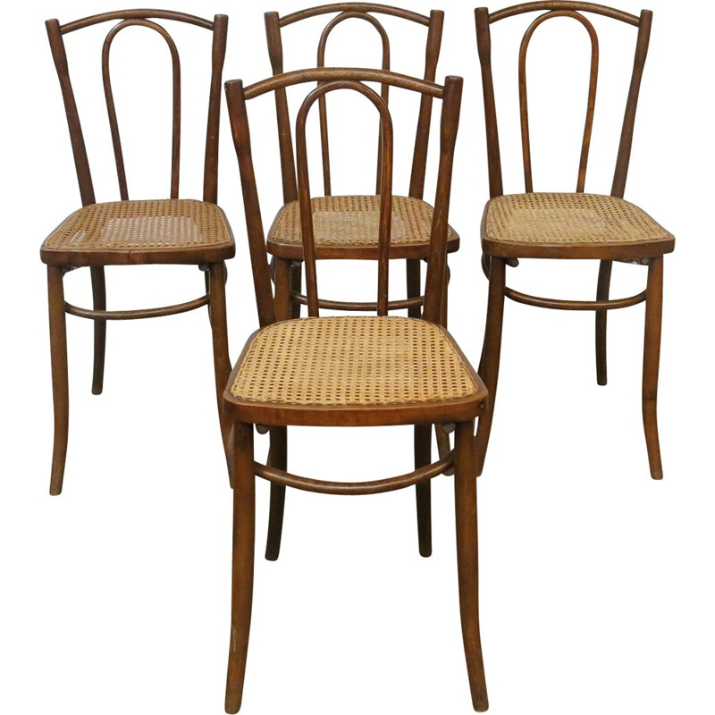 Set of 4 vintage bistro chairs by Thonet, 1920