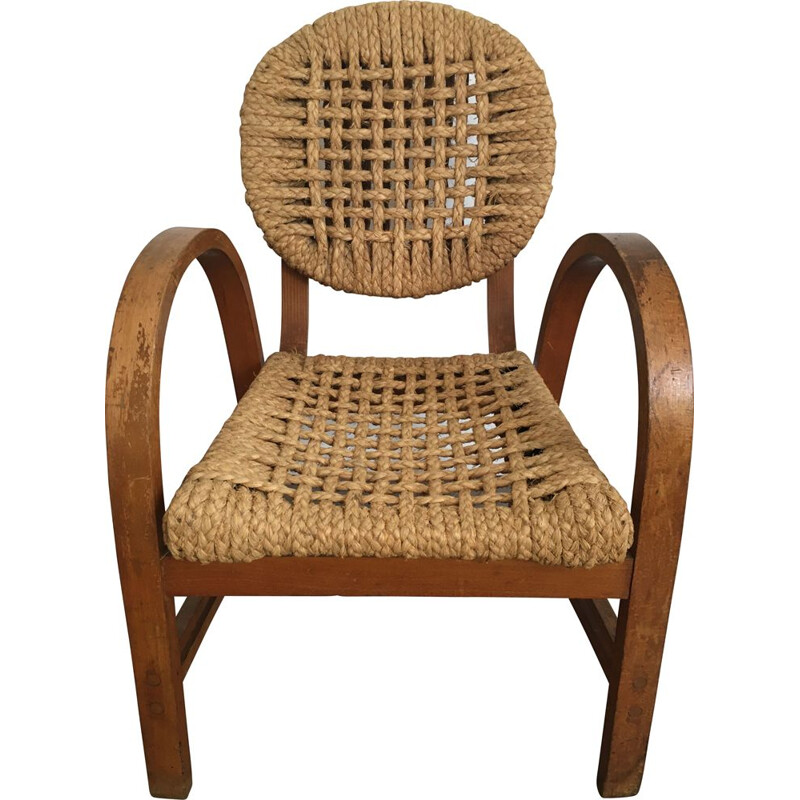 Vintage rope armchair by Audoux & Minet for Vibo, 1950s