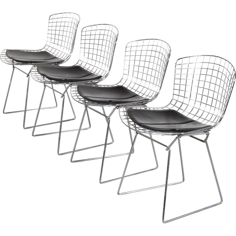 Set of 4 vintage dining chairs by Harry Bertoia for Knoll, USA 1970