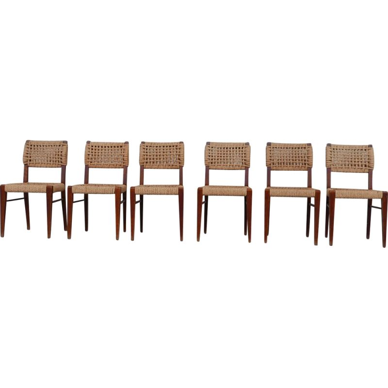 Set of 6 vintage French dining chairs by Audoux-Minet, 1960s