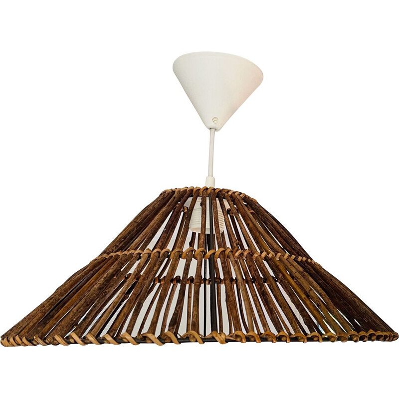 Vintage wood and wicker pendant lamp, 2000